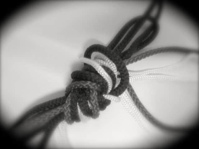Prüfungsstress wie Knoten aus unterschiedlichen Schnüren auf weißem Papier in Vignette, unscharf